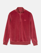 Stussy Velour Long Sleeve Zip Mock Sweatshirt - Maroon
