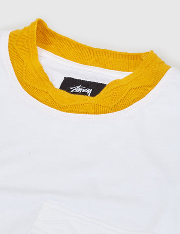 Stussy Jacquard Neck T-Shirt - White