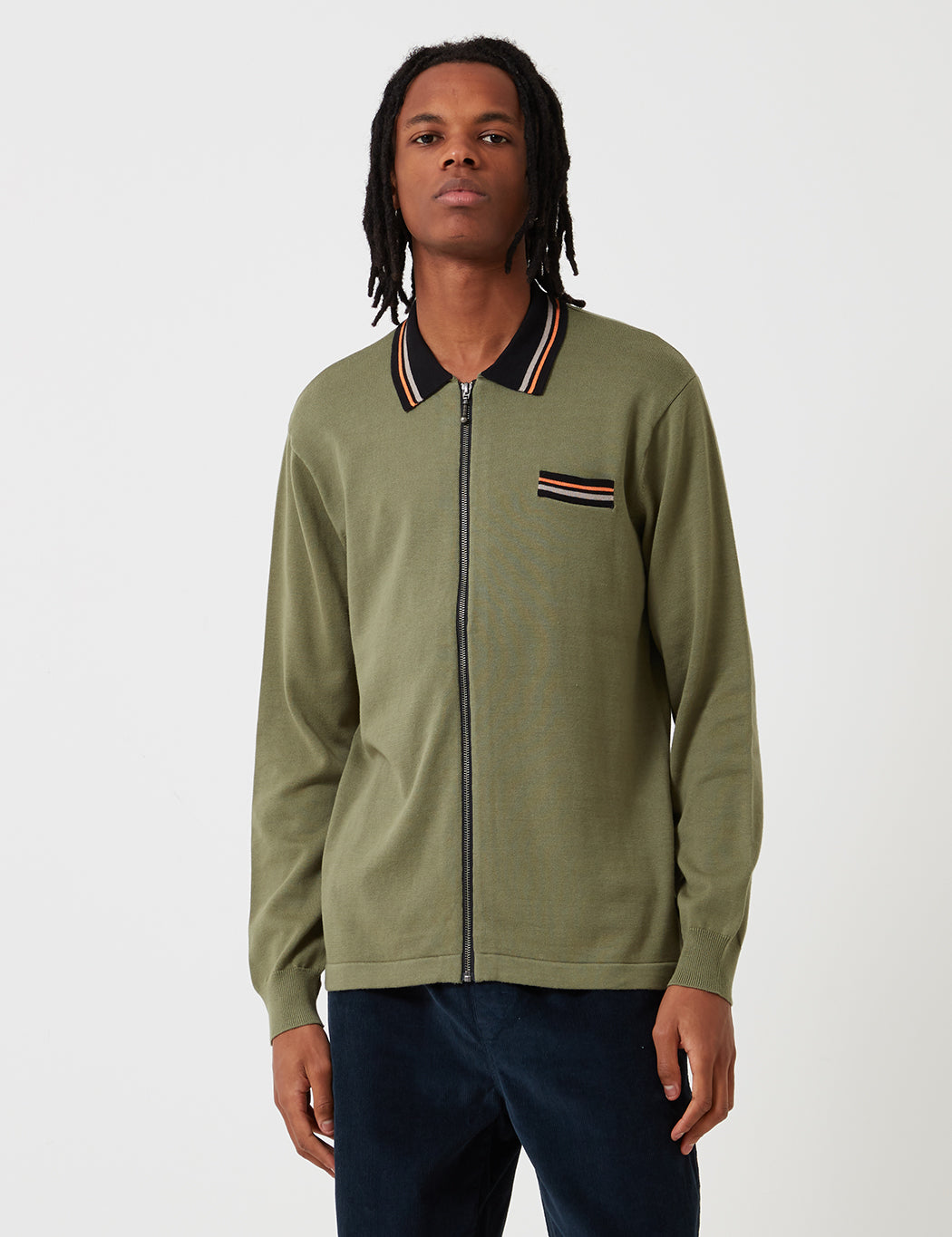 6dbe7f831eccf Stussy Perry Zip Long Sleeve Knit Polo Shirt in Olive Green