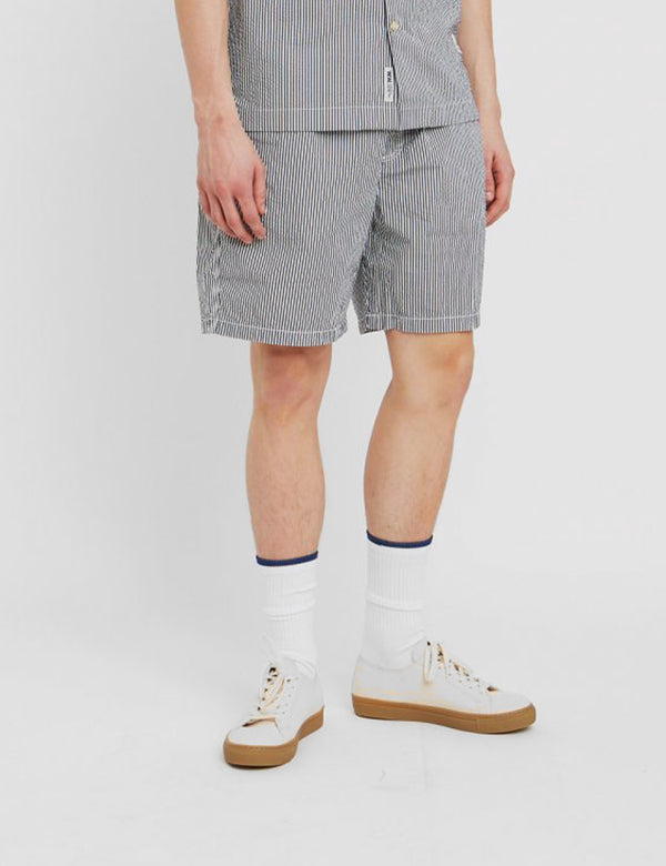 Wood Wood Baltazar Shorts - White Navy Stripe