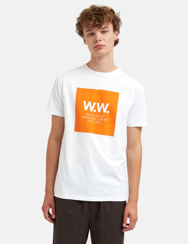 Wood Wood WW Square T-Shirt - Bright White/Orange