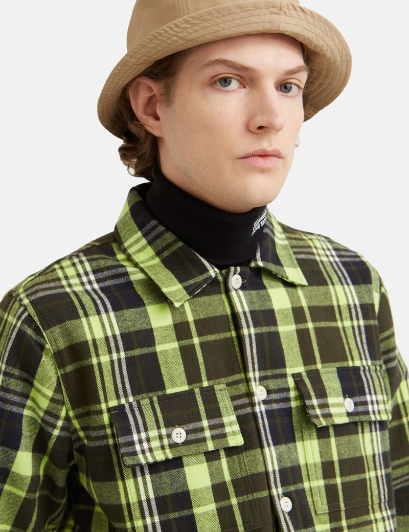 Wood Wood Franco Flannel Shirt - Green Check