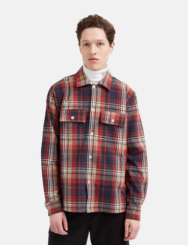 Wood Wood Franco Flannel Shirt - Rust Check