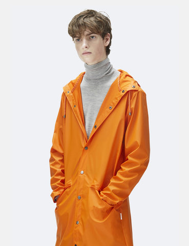 Rains Long Jacket - Fire Orange