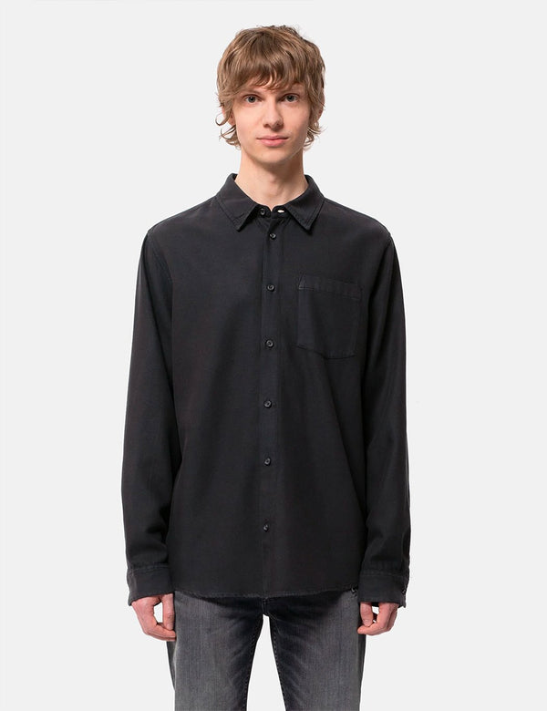 Nudie Chuck Fluid Twill Shirt - Black