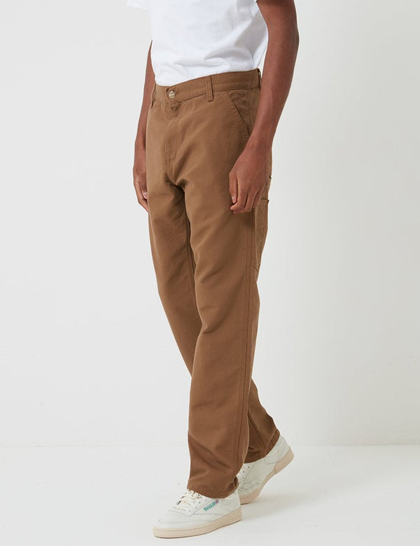 Carhartt-WIP Ruck Single Knee Pant (Organic Cotton) - Hamilton Brown rinsed
