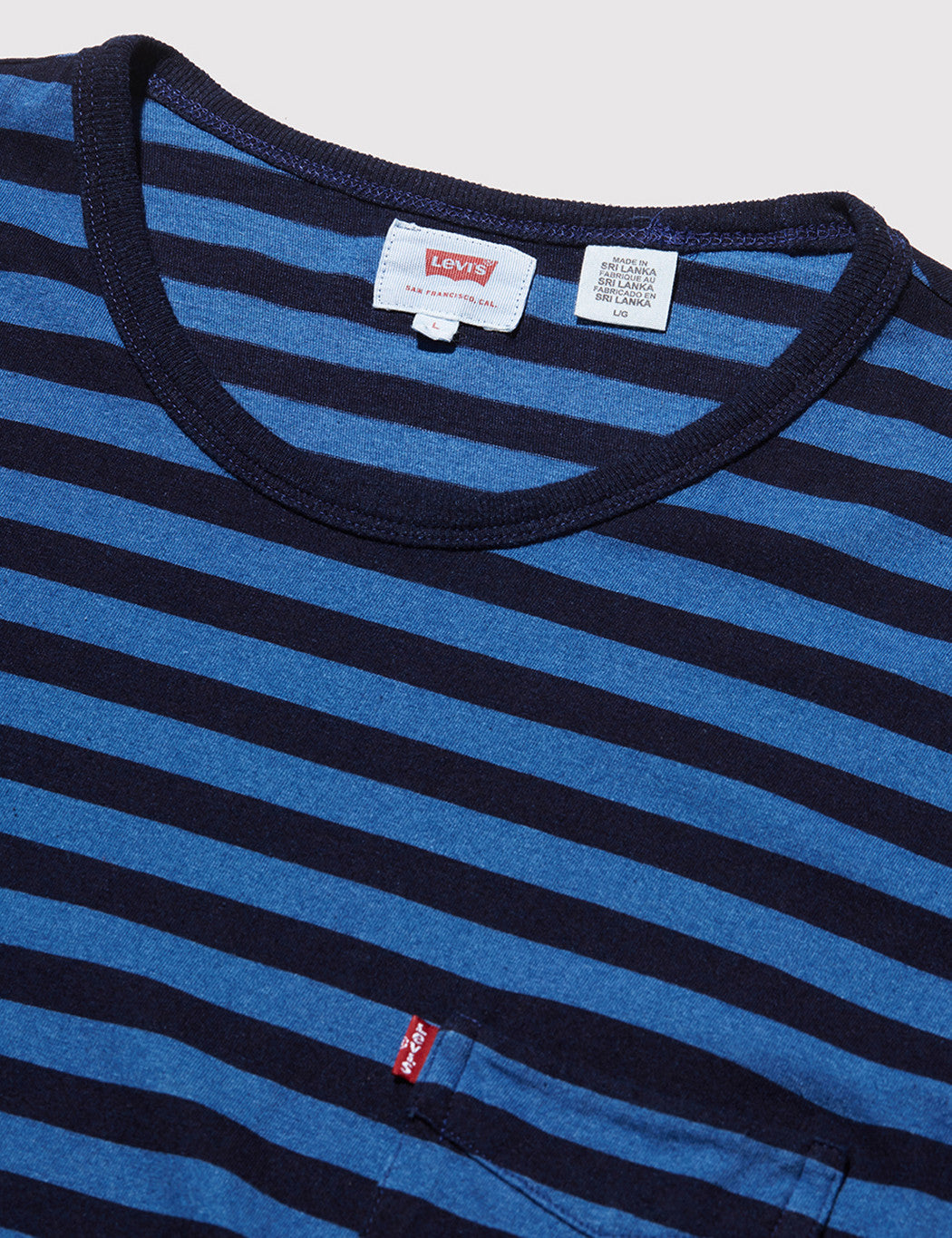 Levis Sunset Pocket T-shirt (Stripe) - Indigo/Blue