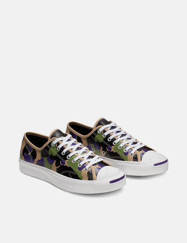 Converse 70's Archive Print Jack Purcell Low (165963C) - Black/Candied Ginger/Purple