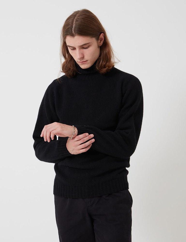 Bhode Lambswool Roll Neck Jumper (Made in Scotland) - Black