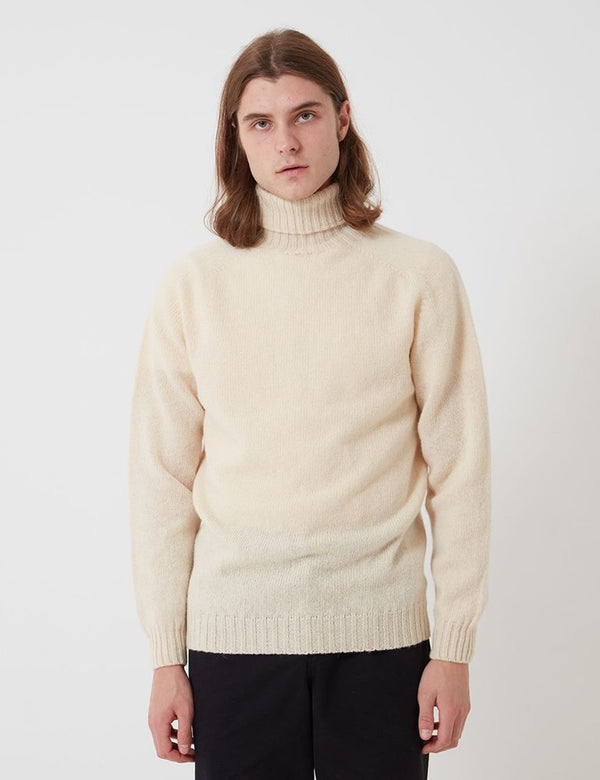 Bhode Lambswool Rollkragenpullover (Made in Scotland) - Creme