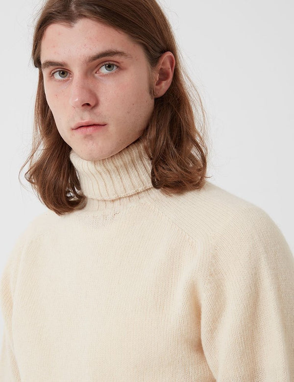 Bhode Lambswool Roll Neck Jumper (Made in Scotland) - Cream