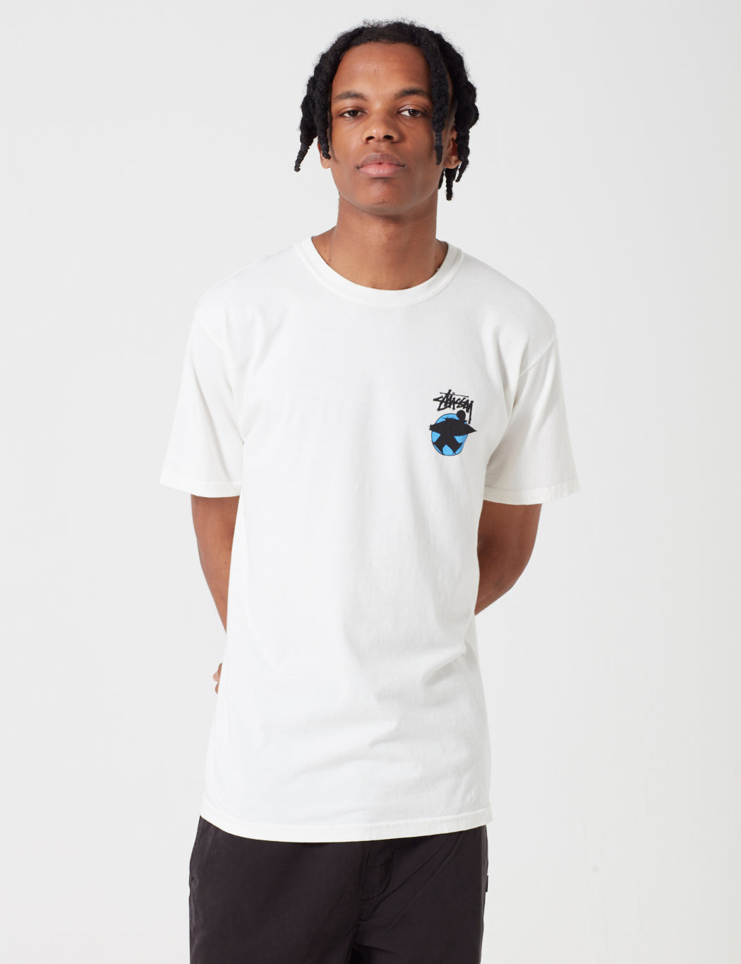 Stussy Surfman Dot Pigment Dyed T-Shirt - Natural ...