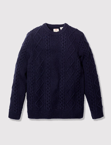 Levis Fisherman Cable Crew Jumper - Night Blue