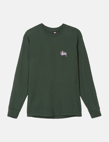 Stussy Basic Long Sleeve T-Shirt - Dark Forest Green