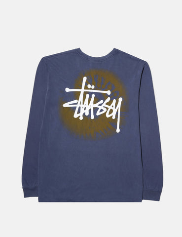Stussy Basic Swirl Long Sleeve T-Shirt - Navy