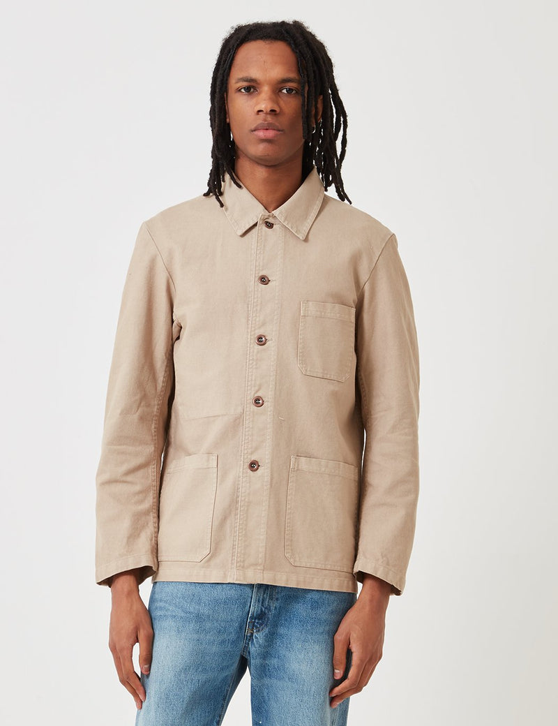 Vetra French Workwear Jacket Short (Dungaree Wash Twill) - Chalk Beige
