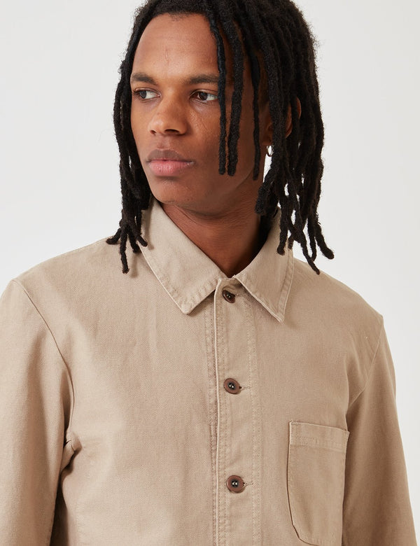 Vetra French Workwear Jacket Short (Dungaree Wash Twill) - Craie Beige