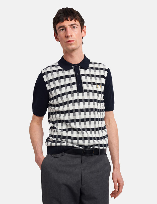 Fred Perry Abstract Check Knitted Shirt - Navy Blue
