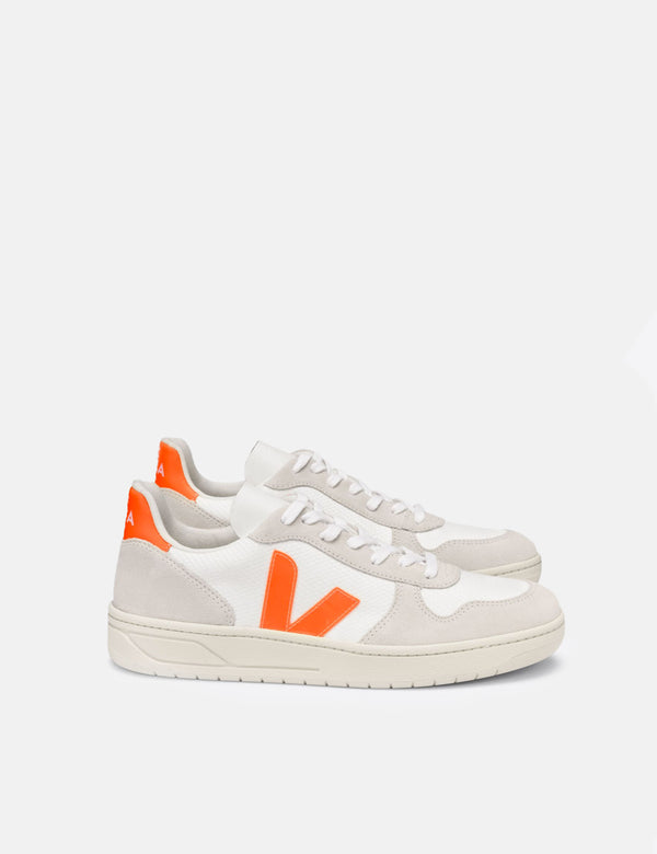 Baskets Veja V-10 B-Mesh Femme - Blanc/Naturall/Orange Fluo