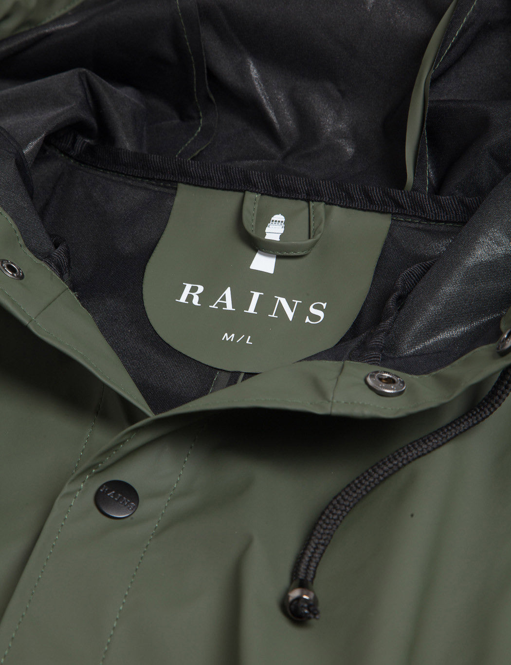 Rains Long Jacket - Olive Green