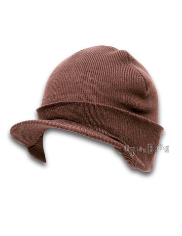 Cuffed Visor Beanie Hat - Brown