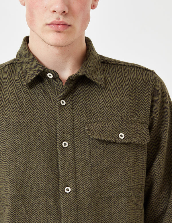 Dickies Lewisburg Herringbone Shirt - Olive Green