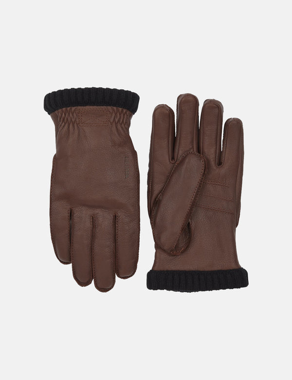 Hestra Deerskin Primaloft Rib Gloves - Chocolate