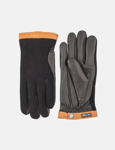 Hestra Tricot Deerskin Wool Gloves - Black/Black