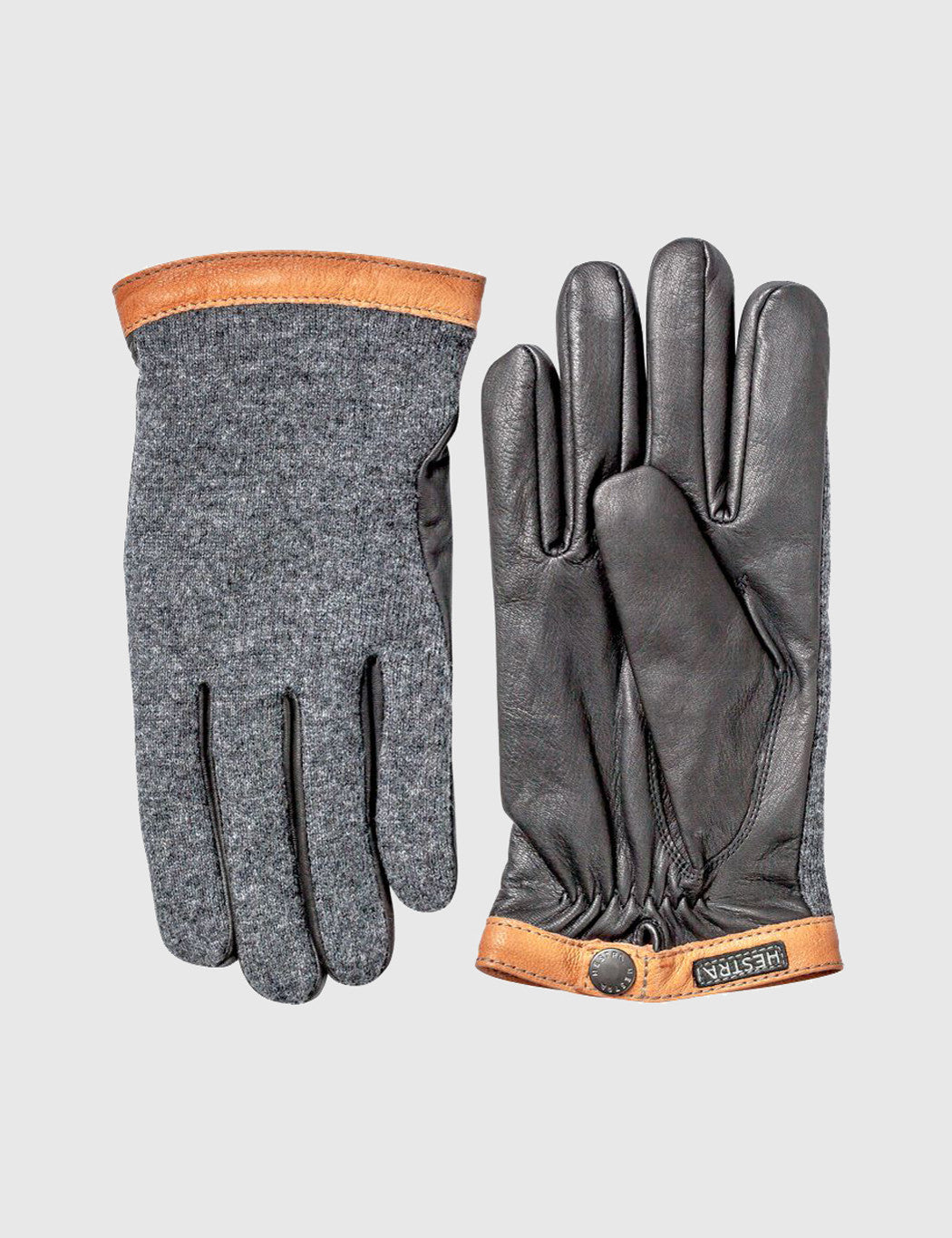 Hestra Tricot Deerskin Wool Gloves - Charcoal/Black
