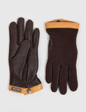 Hestra Tricot Deerskin Wool Gloves - Espresso/Dark Brown