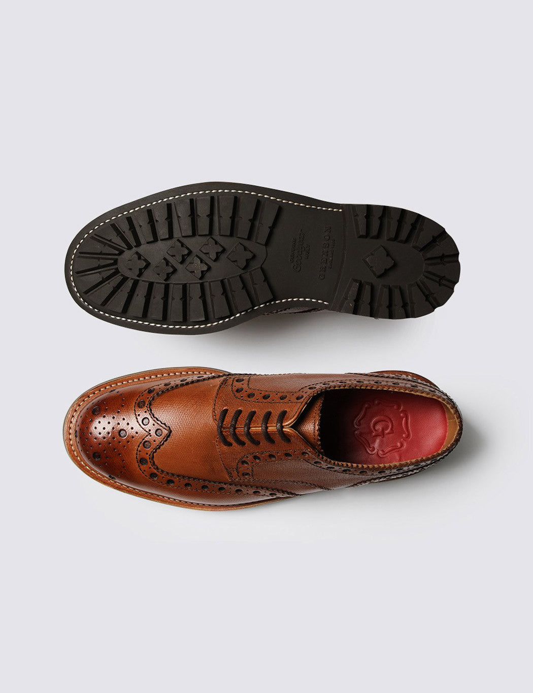 Grenson Archie Commando Sole Brogue Shoes - Tan