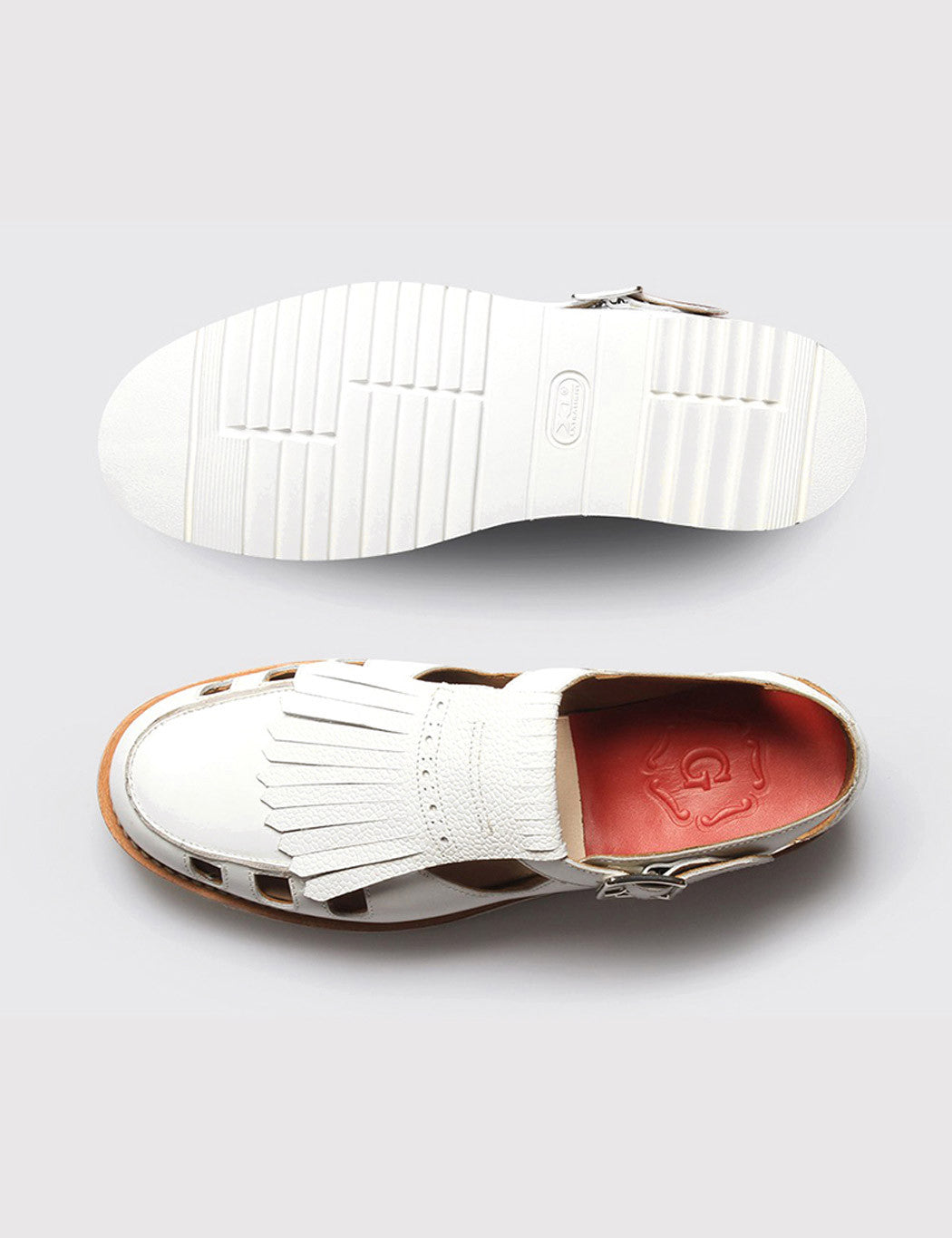 Womens Grenson Ethel Shoe - White Calf/Grain