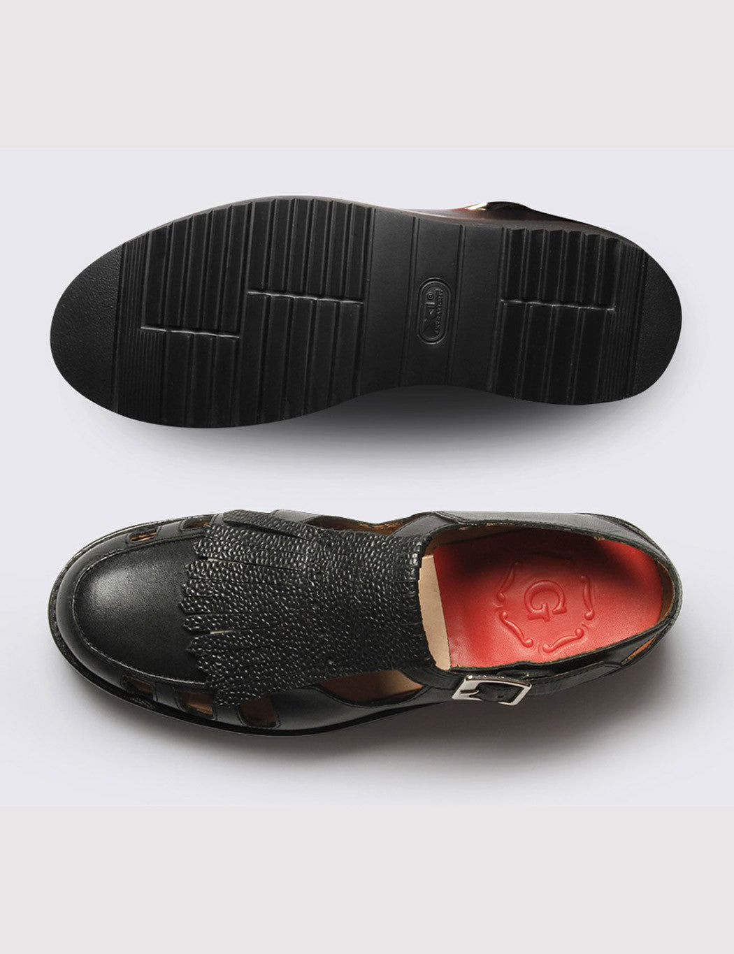 Womens Grenson Ethel Shoe - Black Calf/Grain