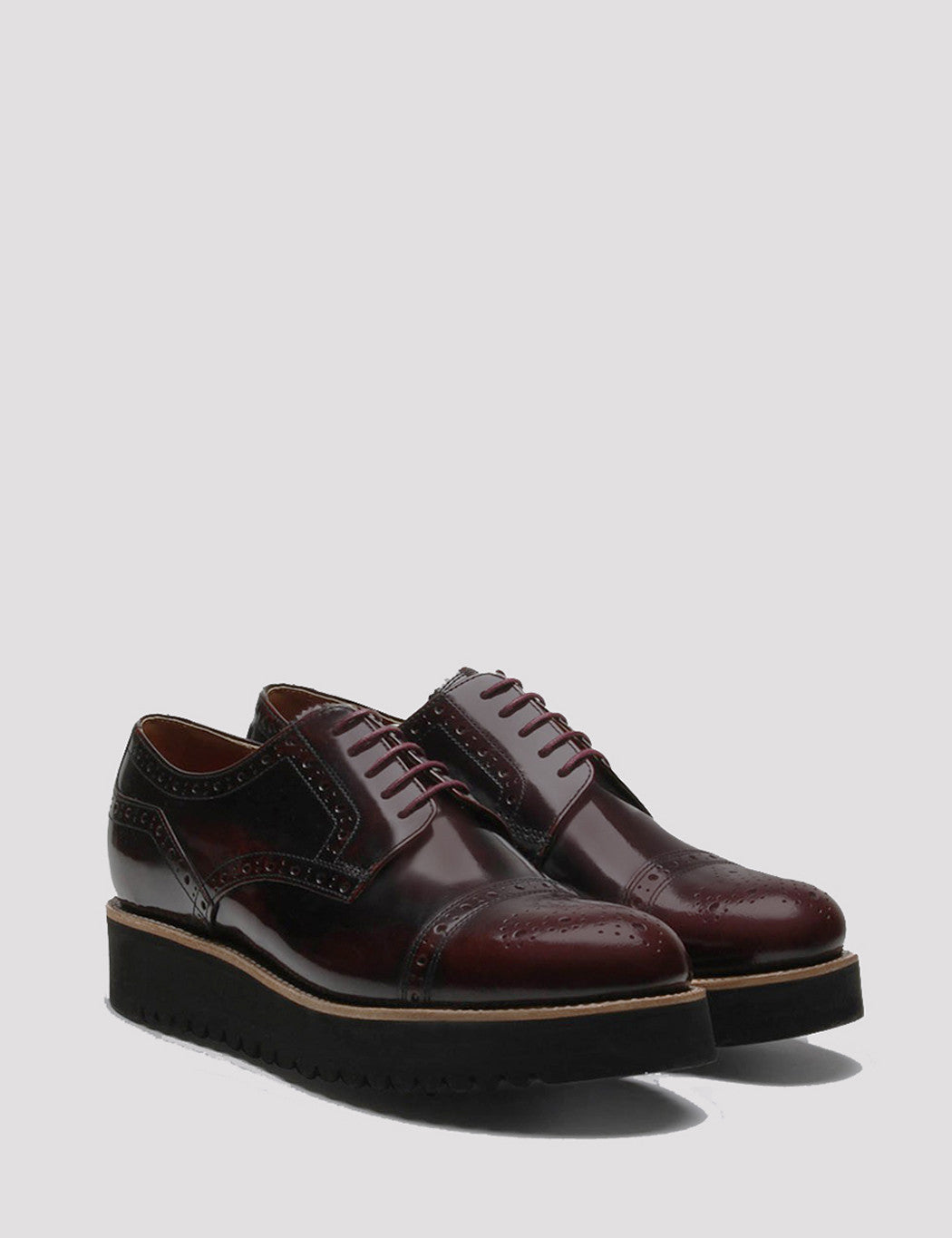 Grenson Womens Lucy Brogue Shoes - Burgundy
