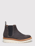 Grenson Womens Alice Suede Chelsea Wedged Boot - Charcoal