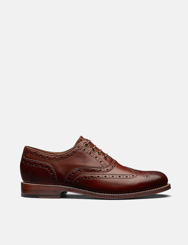 Femmes Grenson Rose Brogues (Hand Painted) - Tan