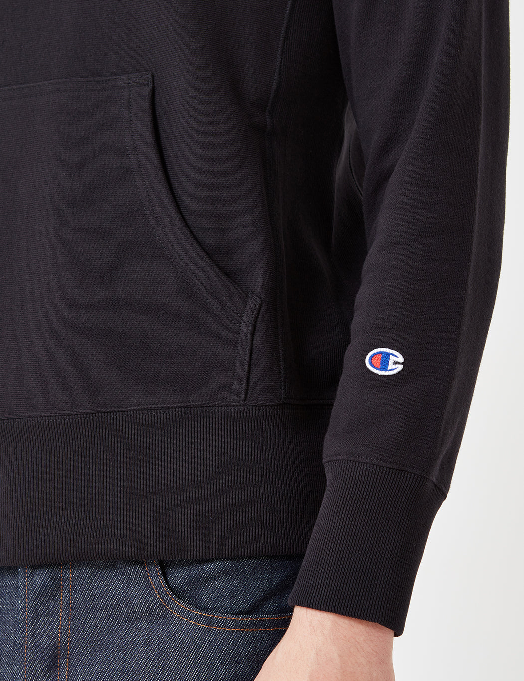 Champion Reverse Weave Hooded Sweatshirt - Black