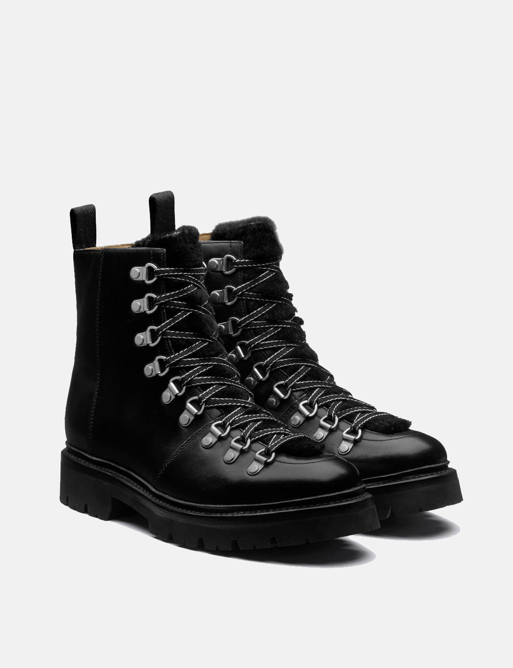 Womens Grenson Nanette Boot Leather/Shearling - Black   URBAN EXCESS.