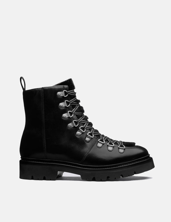 Womens Grenson Nanette Ski Boot (Leather/Shearling) - Black