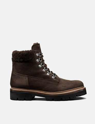 Womens Grenson Brooke Derby Hiker Boot (Suede) - Peat Brown