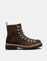 Womens Grenson Nanette Ski Boot (Suede) - Peat Brown