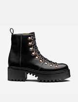 Womens Grenson Nanette Hiker Platform Sole Boots (Leather) - Black Colorado