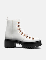 Womens Grenson Nanette Hiker Platform Sole Boots (Leather) - White Colorado