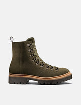 Womens Grenson Nanette Ski Boot (Suede) - Military Green