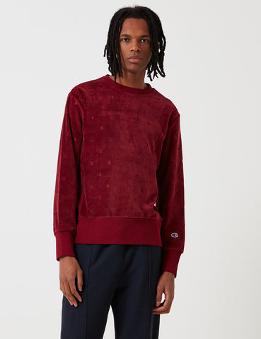 Champion Velour Print Sweatshirt - Burgundy