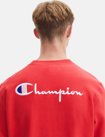 Champion Small Script Logo Reverse Weave Sweatshirt - Red
