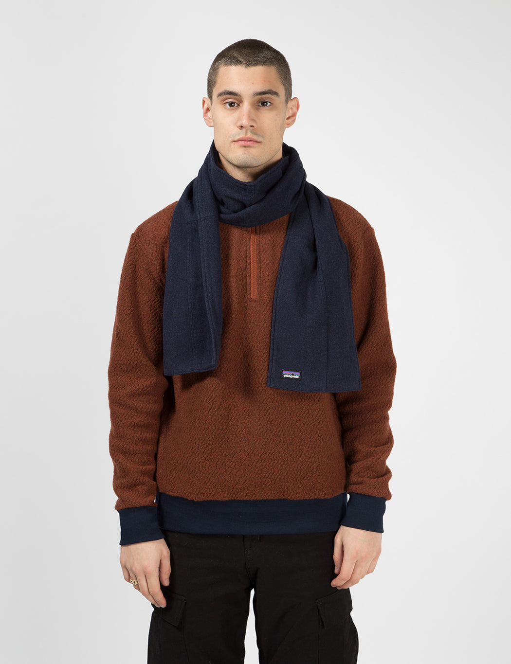 Patagonia Fjord Flannel Patchwork Scarf - Navy Blue   URBAN EXCESS.