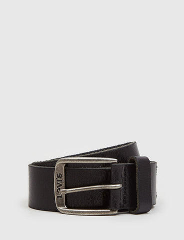 Levis Classic Logo Buckle Leather Belt - Black