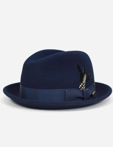 Bailey Tino Felt Crushable Trilby Hat - Navy