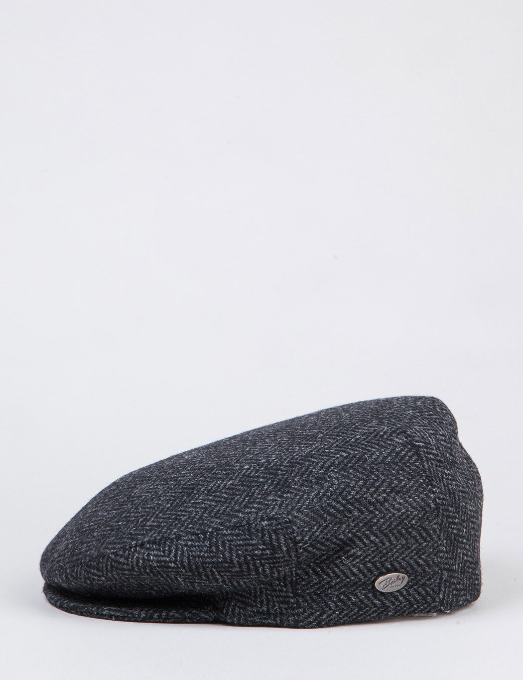 Bailey Lord Herringbone Flat Cap - Black